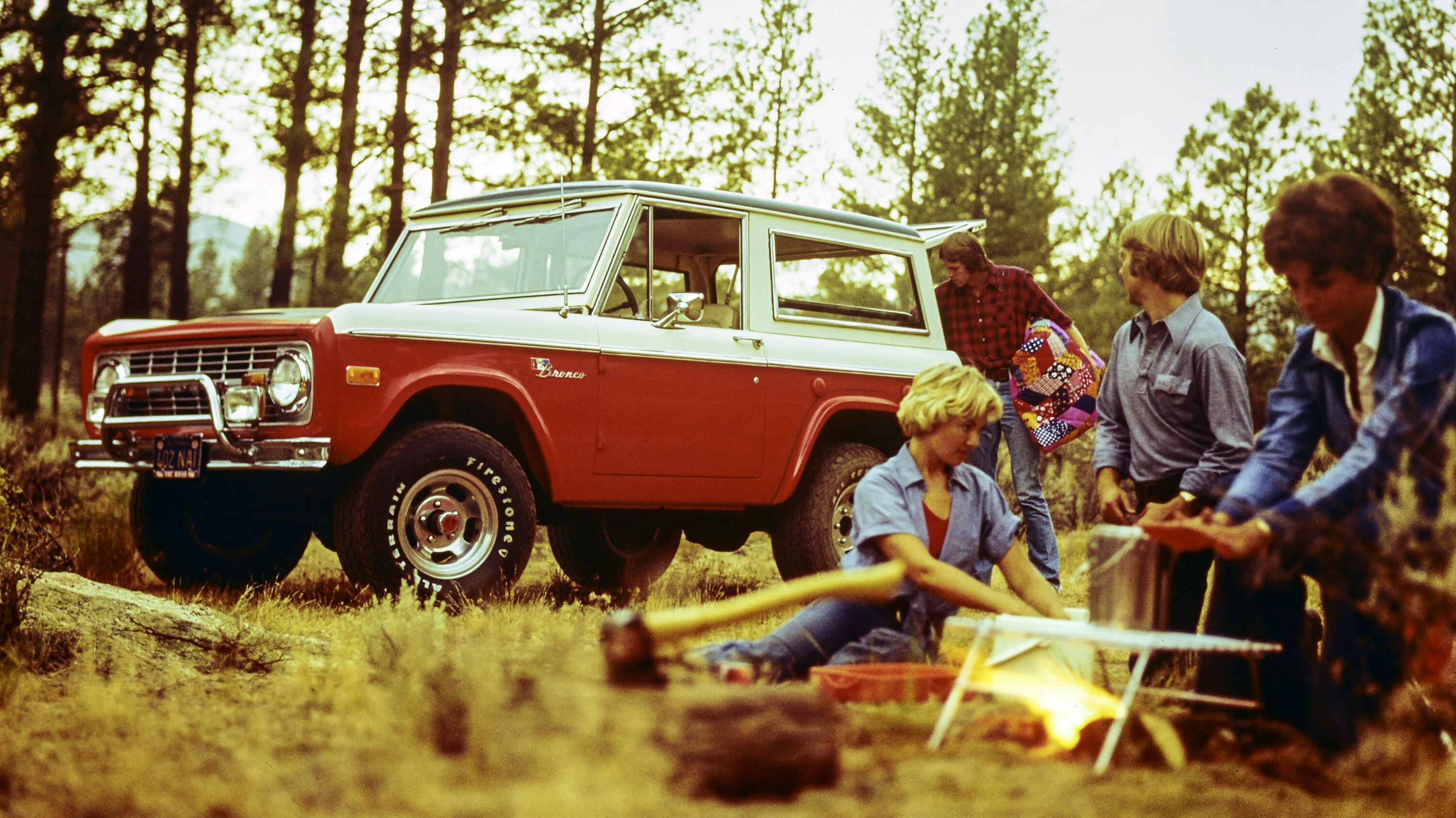 1976 Ford Bronco with campfire family