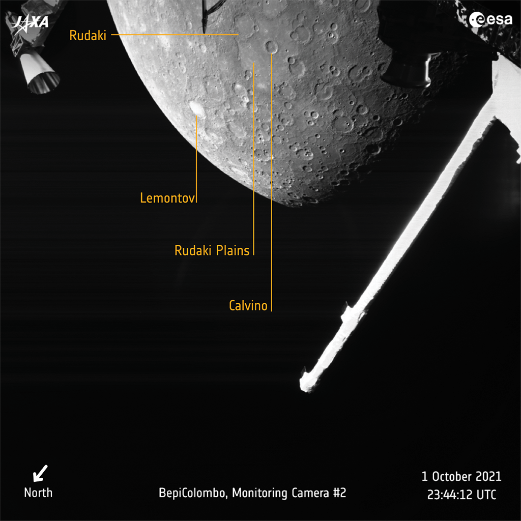 BepiColombo 10.1.2021 photo of Mercury annotated