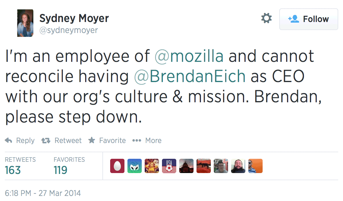 One Mozilla employee objected to Eich's CEO appointment.