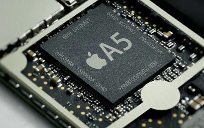 The innards of Apple's iPhone, with its A5 processor.