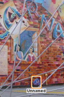 Picasa Web Albums asked me to identify this face it found--actually a mask in a mural.