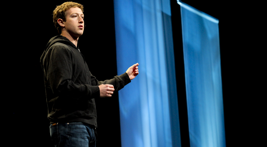 Facebook CEO Mark Zuckerberg onstage at the F8 conference in April.