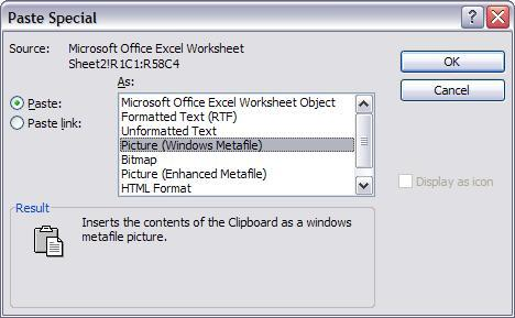 Microsoft Word's Paste Special dialog box