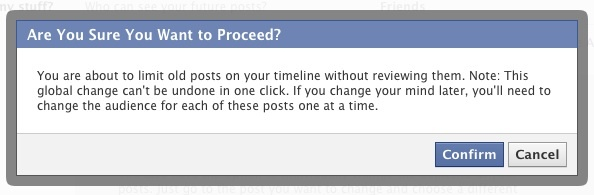 Facebook warning about changing access to past posts
