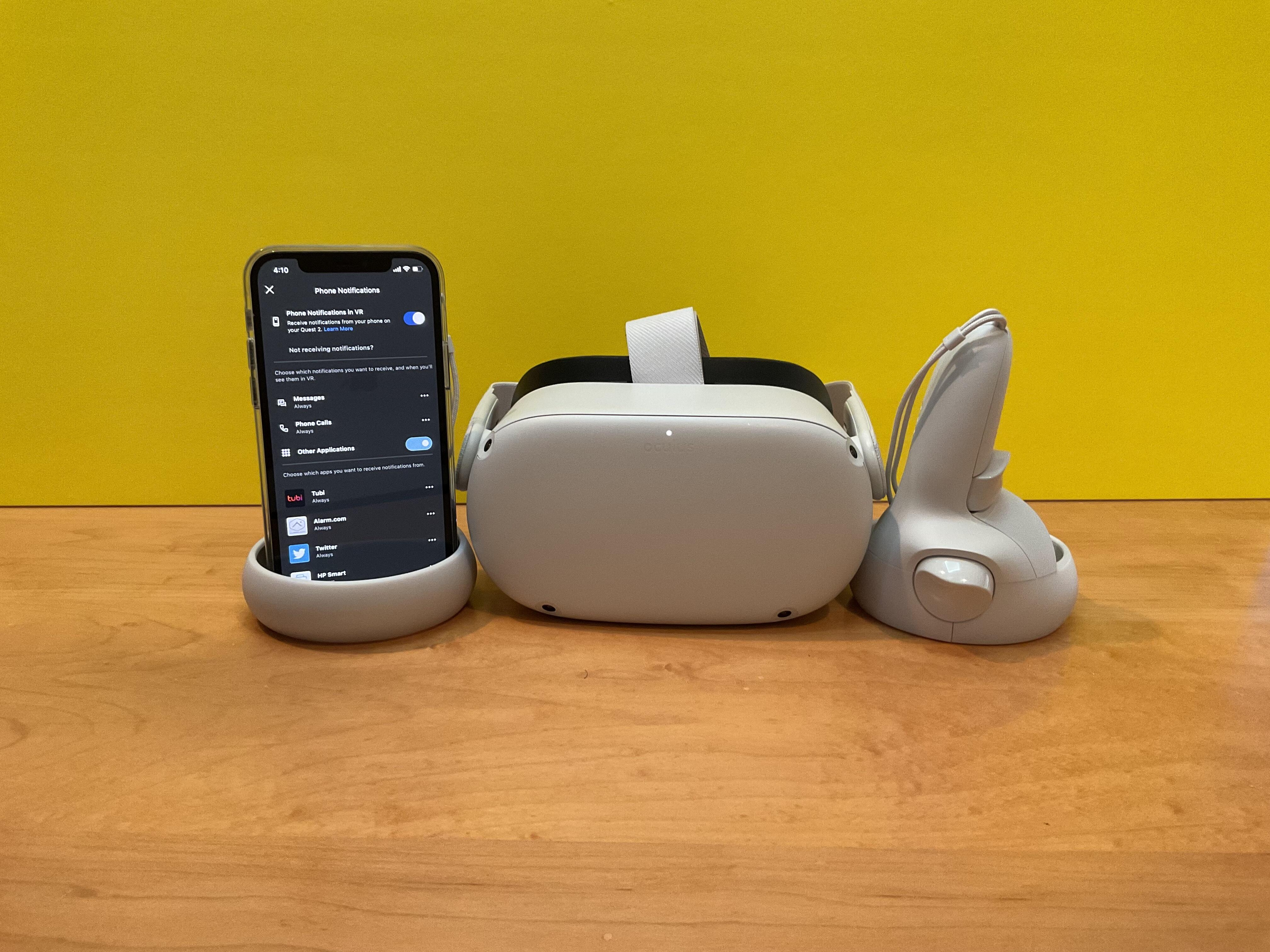 <p>The Oculus Quest 2 gets iPhone notifications, and it's great when gaming (usually).</p>