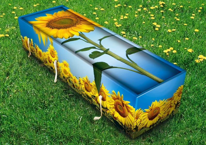 Coffin with a sunflower design