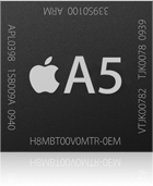 Apple's A5 processor, the first dual-core processor to come in an iPhone.