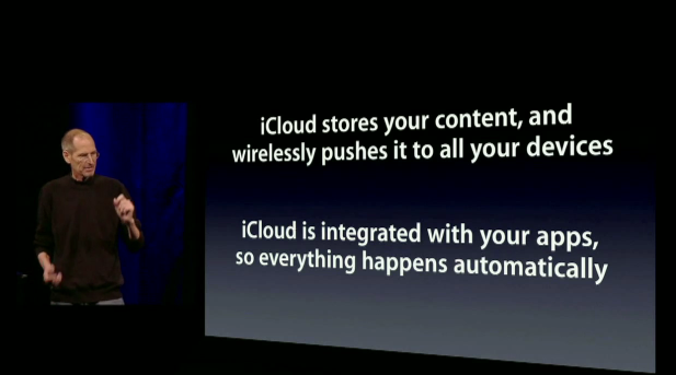 """According to Steve Jobs, with iCloud """"everything happens automatically and there's nothing new to learn."""""""