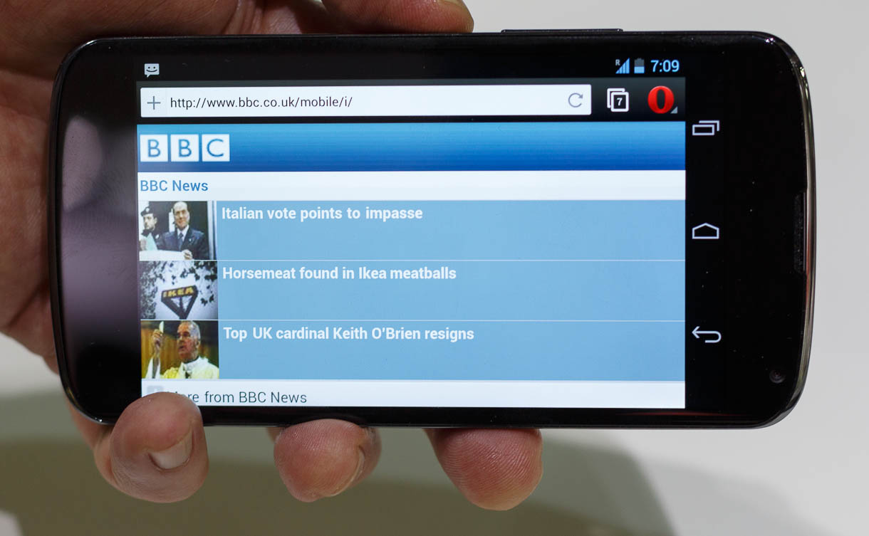 Landscape-oriented Opera for Android