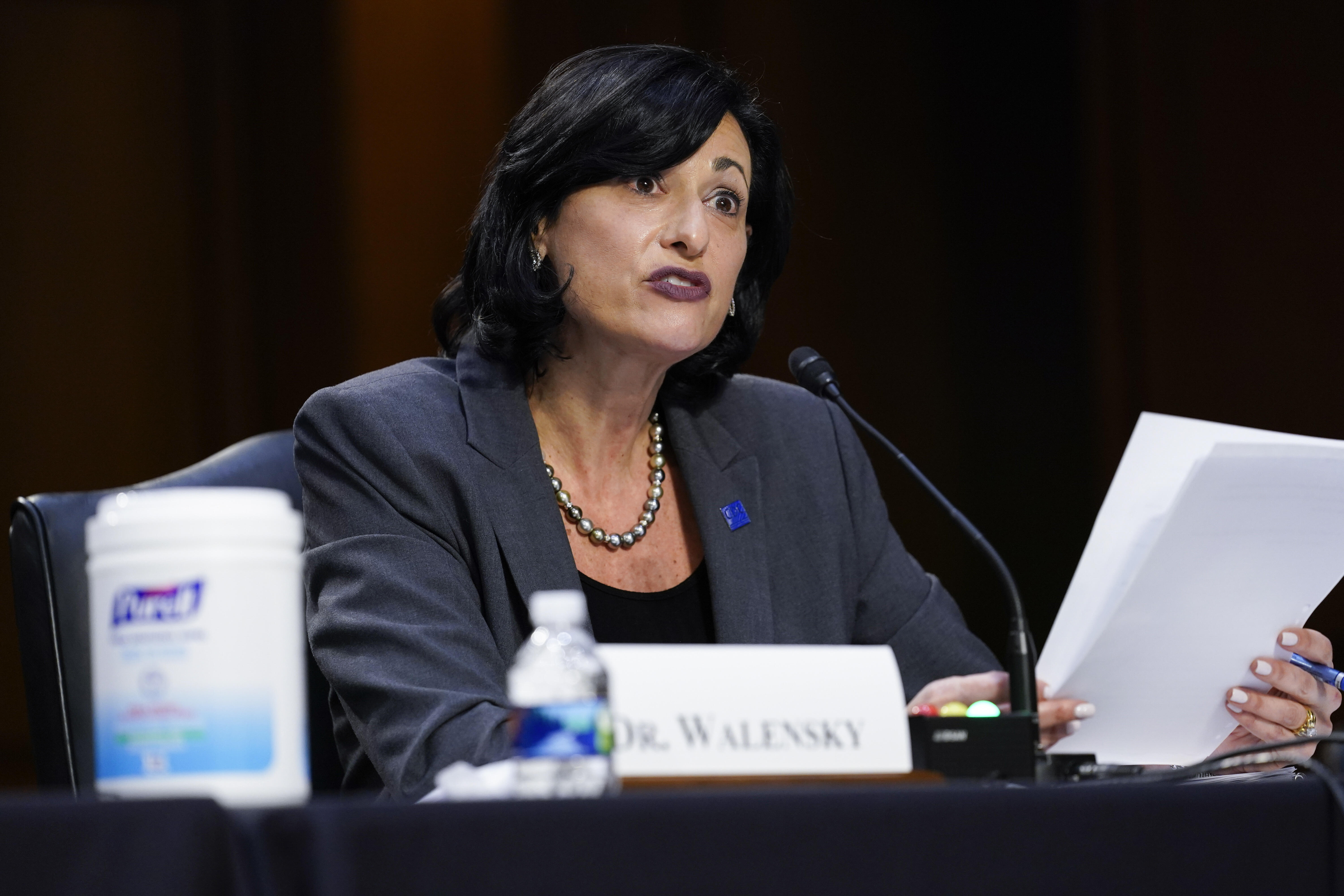 Dr. Rochelle Walensky, director of the Centers for Disease Control and Prevention, testifies during a Senate hearing.
