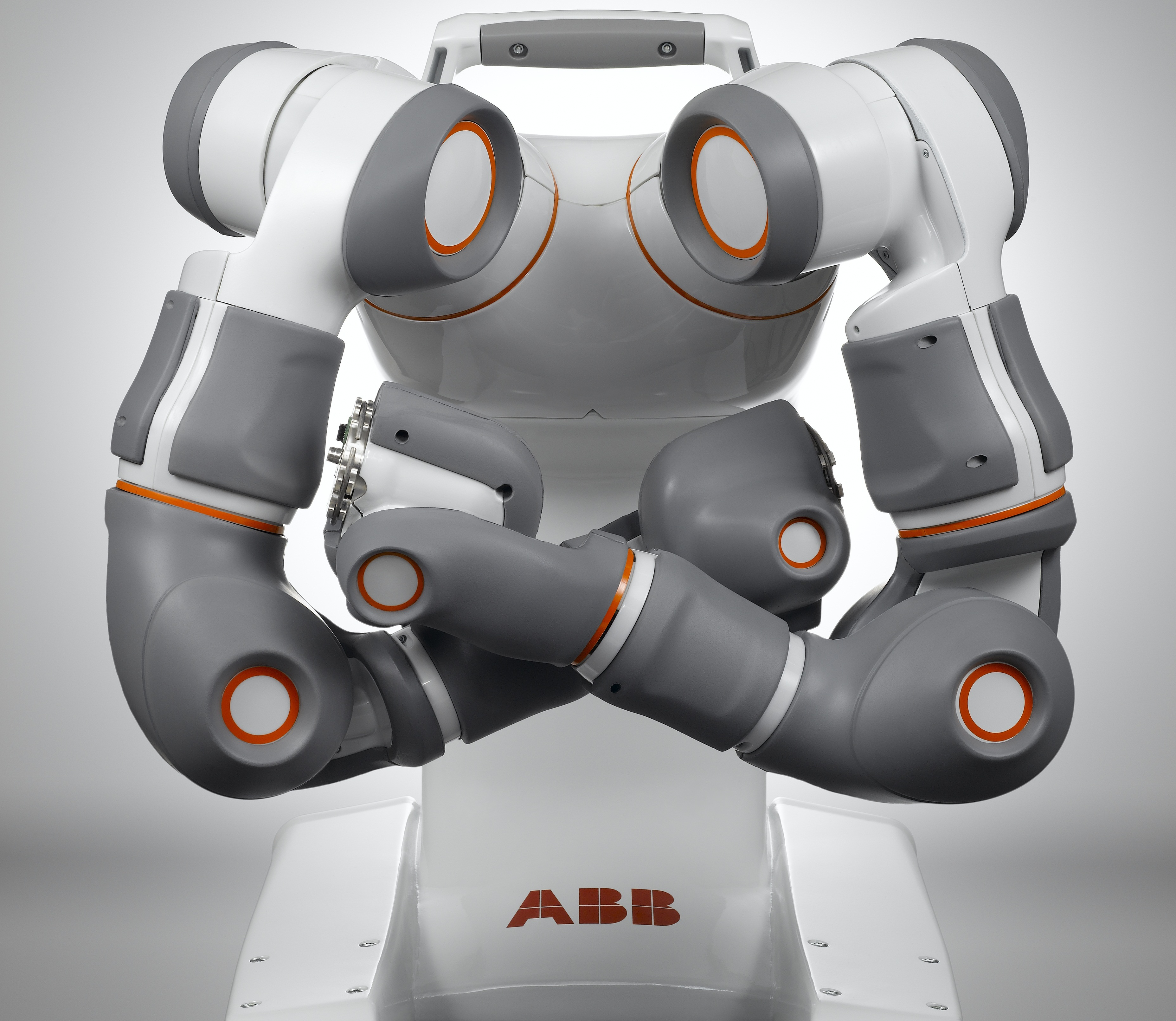 A two-armed concept robot from ABB can be carried and has sensors that allow it to work in close proximity to people.
