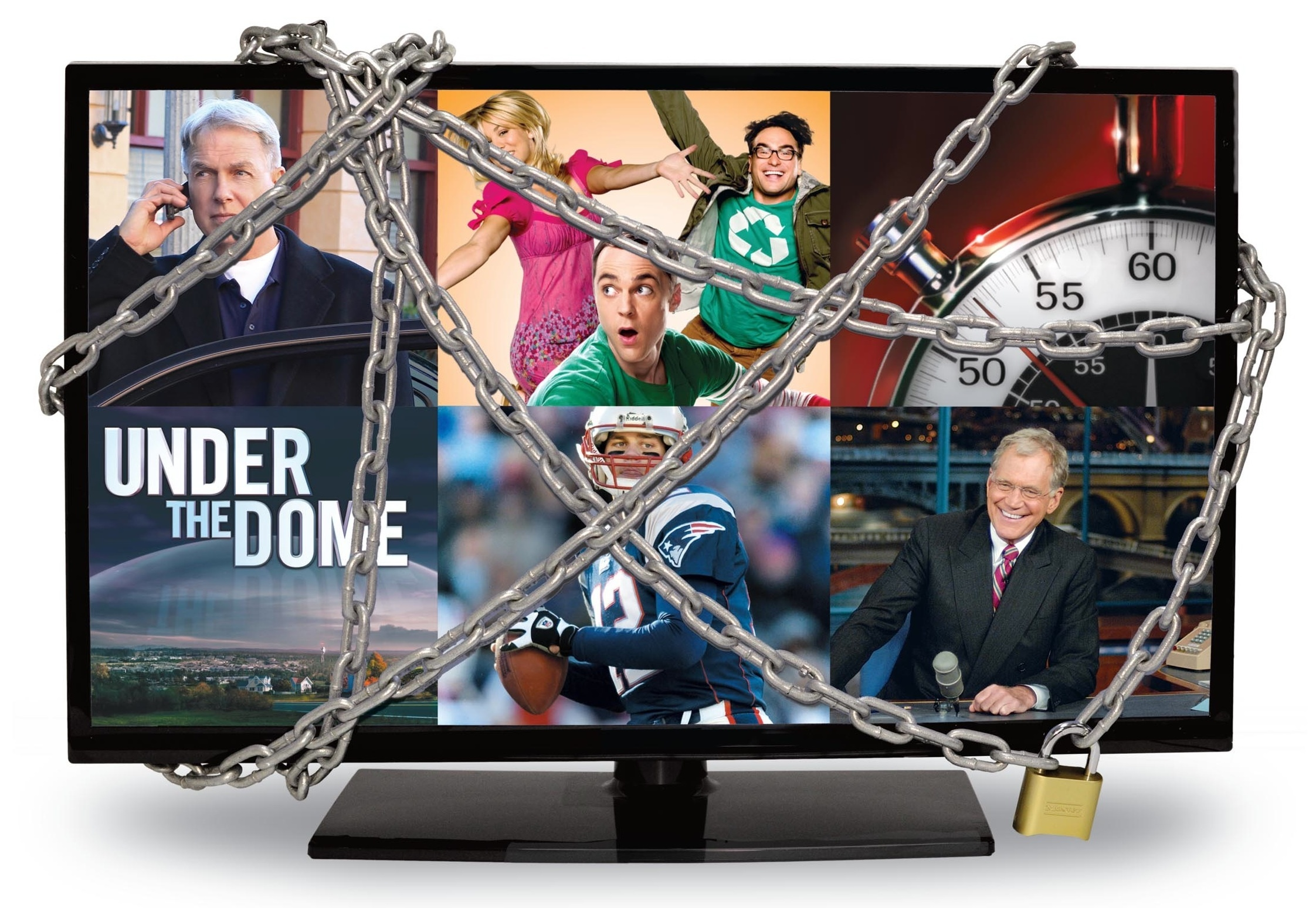 A television tied up with chains