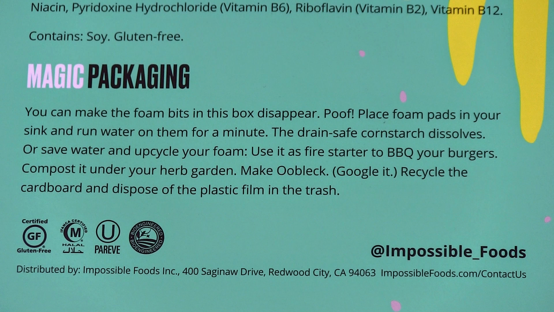 Impossible Foods recycling message