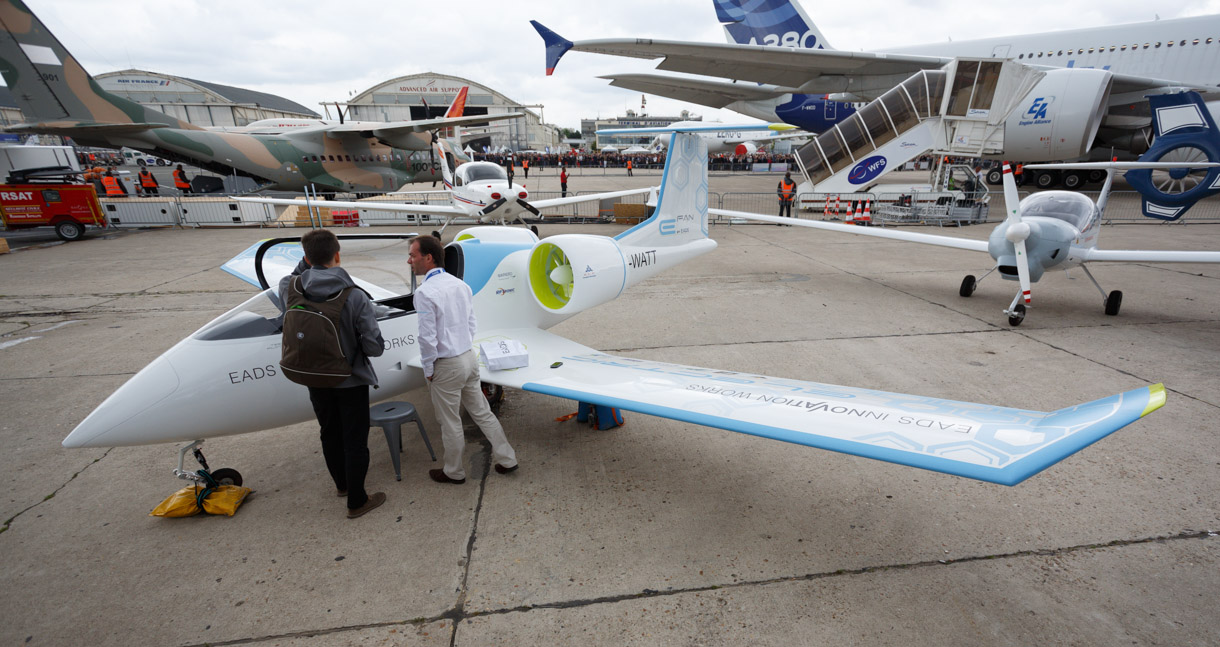 EADS' E-Fan is an all-electric, zero-emission aircraft. It can carry 550kg of weight with a cruising speed of 110kmph and maximum speed of 160kmph. But its range is fairly limited compared to conventionally fueled aircraft: it can fly only about 45 minutes to an hour.