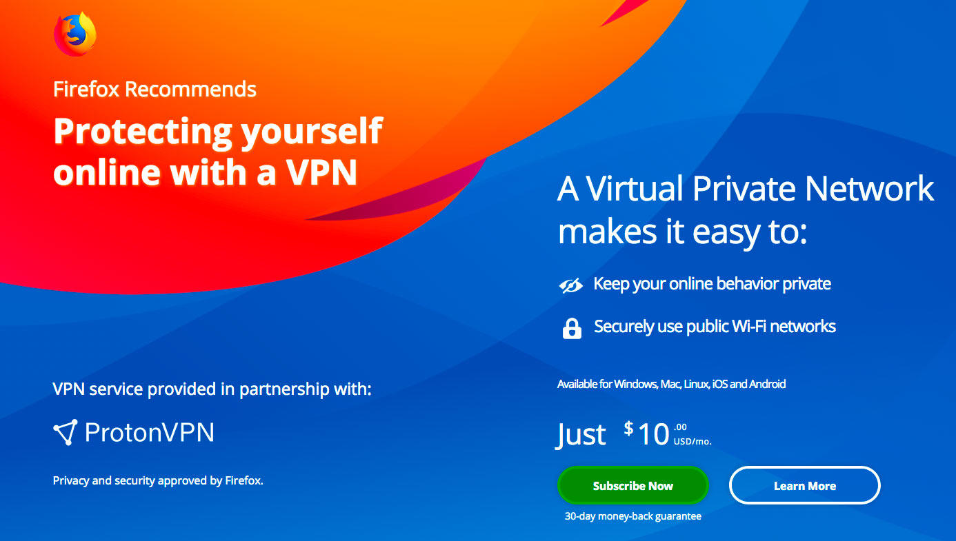 Mozilla is offering a randomly selected group of Firefox users in the United States an offer for VPN service for better privacy.