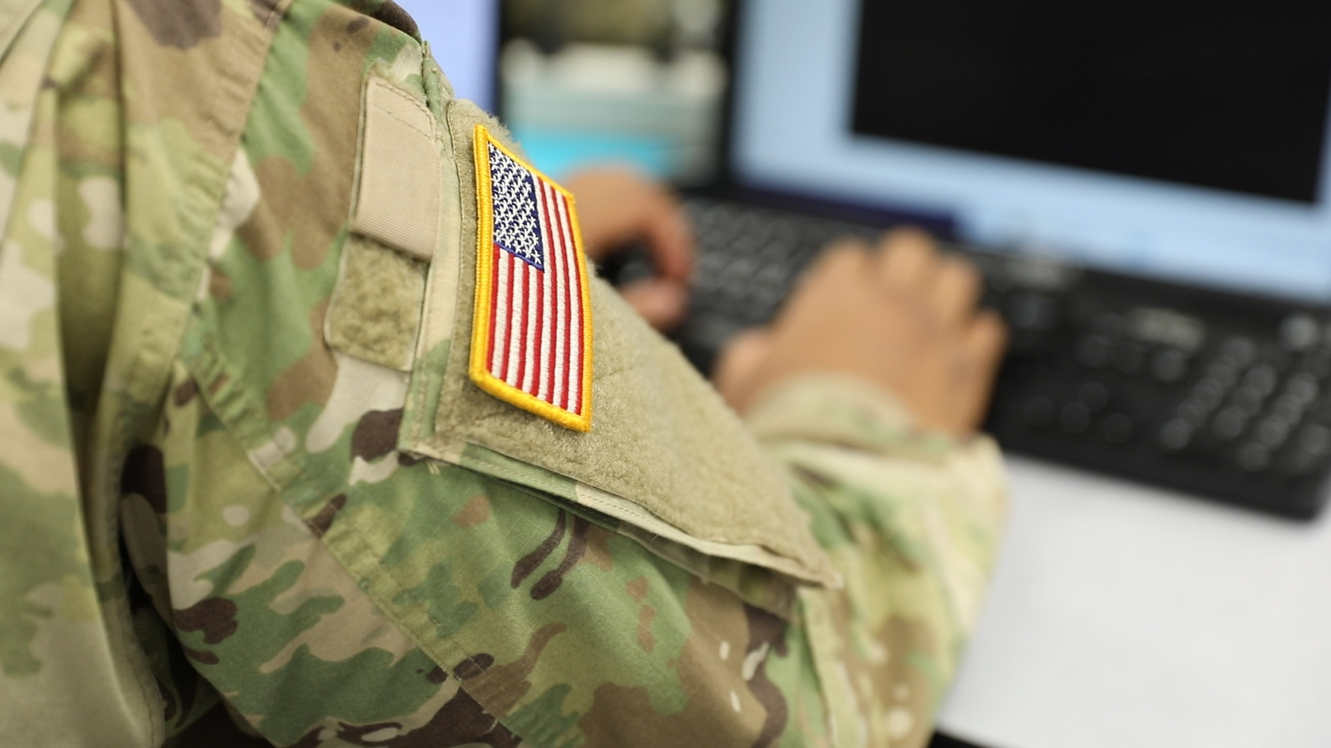 A US Army cadet during a cyber defense exercise.