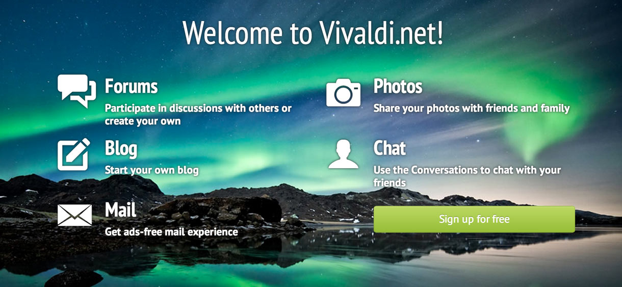 The Vivaldi site offers a variety of activities to members of the site.