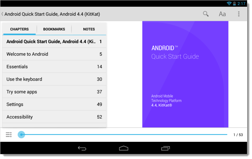 Android 4.4 KitKat getting started guide TOC