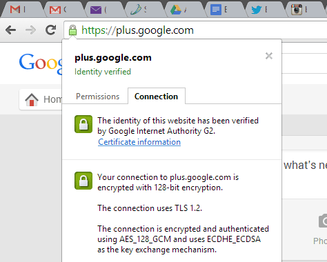 Clicking on Chrome's green lock icon in the address bar lets you see details of the encryption used for a secure connection.