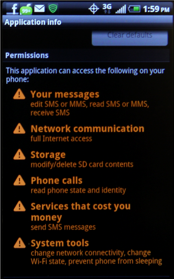 These are the permissions associated with the demo version of the N.O.V.A. game Sprint downloaded onto my HTC Evo without my consent.