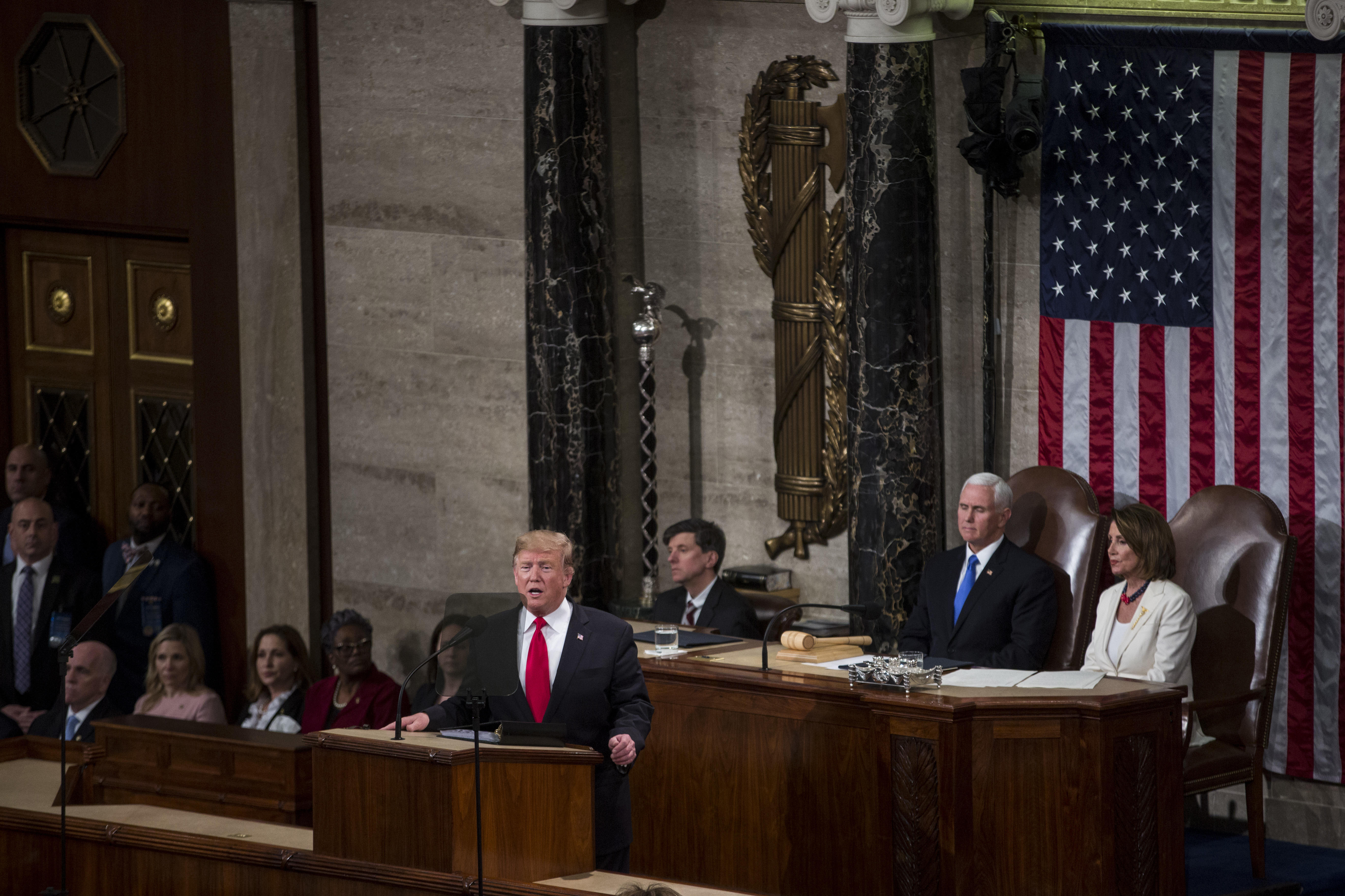 President Donald Trump delivers the State of the Union address in the chamber of the U.S. House of Representatives at the U.S. Capitol Building on February 5, 2019.
