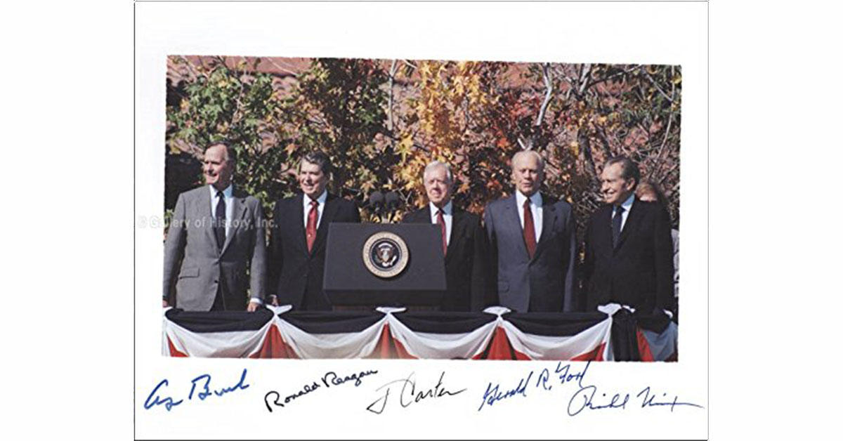 A picture signed by five US presidents