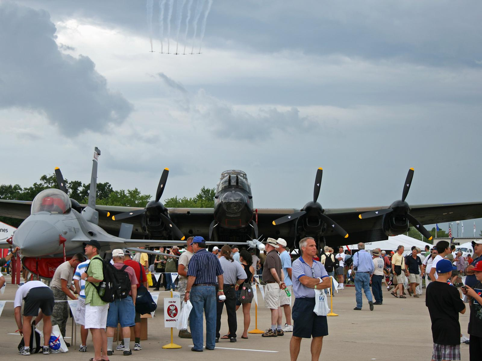 F-16 and Lancaster bomber
