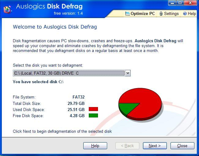 The Welcome screen of Auslogics' Disk Defrag utility