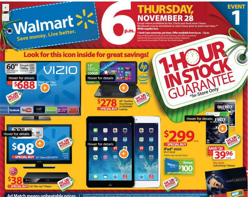 Walmart's official Black Friday 2013 is already out. And there are some deals to be had.