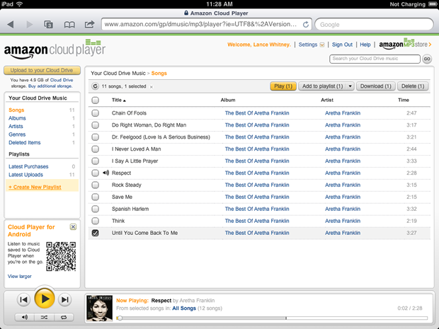 Listening to a little Aretha through Amazon's Cloud Player on the iPad.