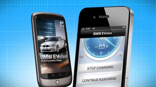 """The BMW Evolve app has settings that let you track a trip's distance and hypothetically """"get charged"""" at destinations that offer EV recharging."""