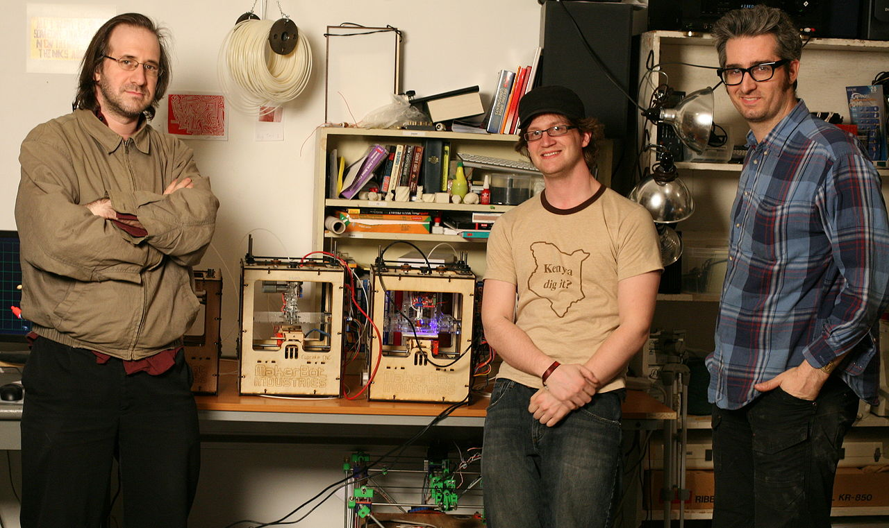 """From left to right, MakerBot co-founders Adam Mayer, Zach """"Hoeken"""" Smith, and Bre Pettis."""