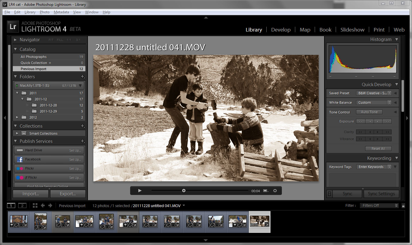 Lightroom 4, now in beta testing, lets people edit video with presets--even an old-style sepia tone look if they want.