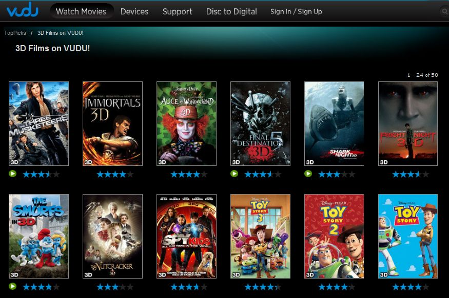 Vudu offers a decent selection of streaming 3D movies -- but most are for purchase only.