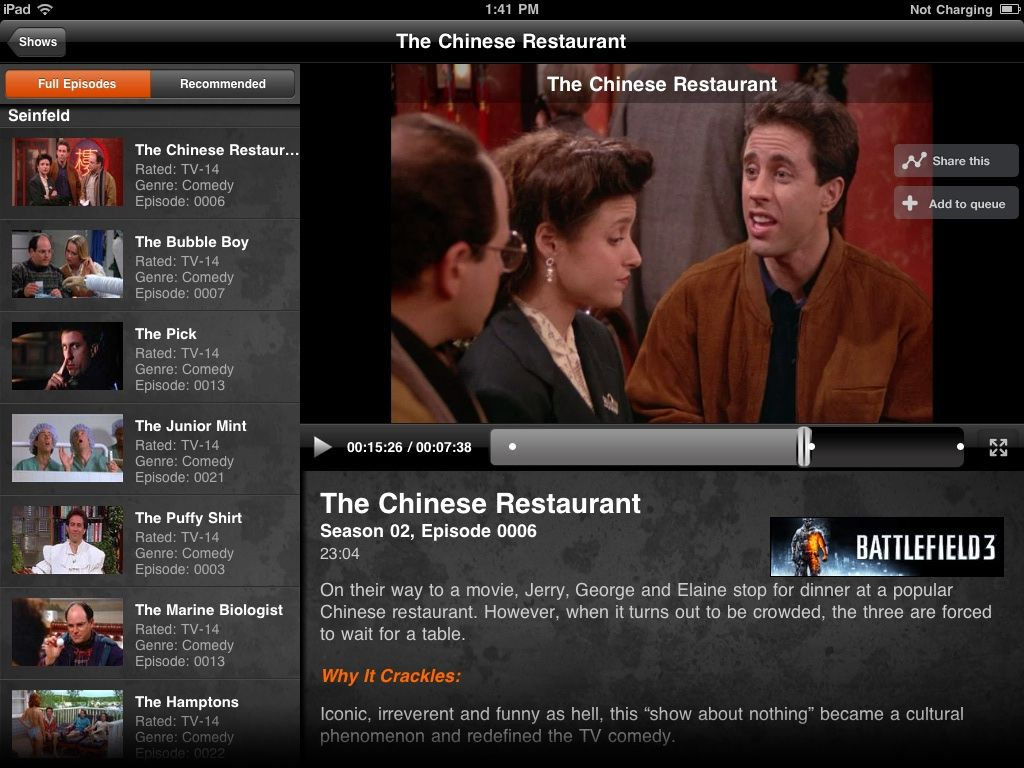 Crackle brings full-length movies and TV shows to the iPhone and, even better, the iPad.