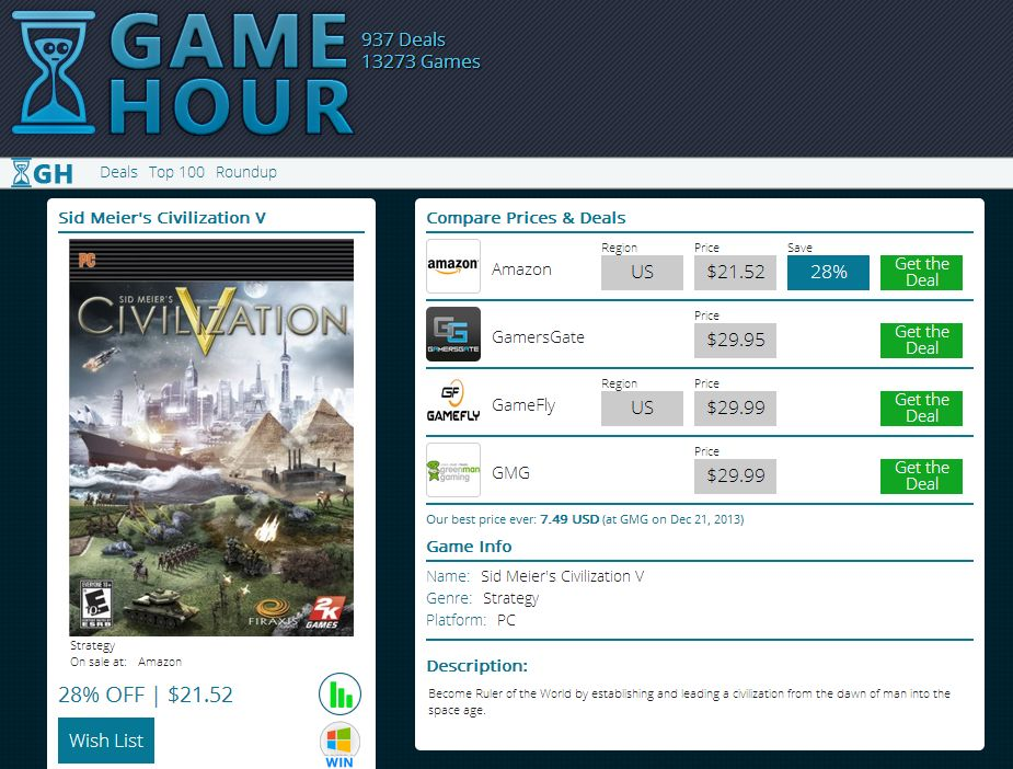 Sites like GameHour will price-compare PC games for you.
