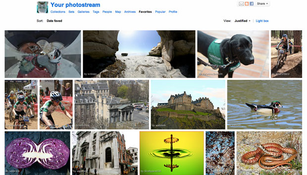 Flickr's justified view shows off photos much better than its historic grid of thumbnails, but so far it's only on the periphery of the site. Flickr is spreading it to new area, though, and will bring it to members' own photo pages in 2012.