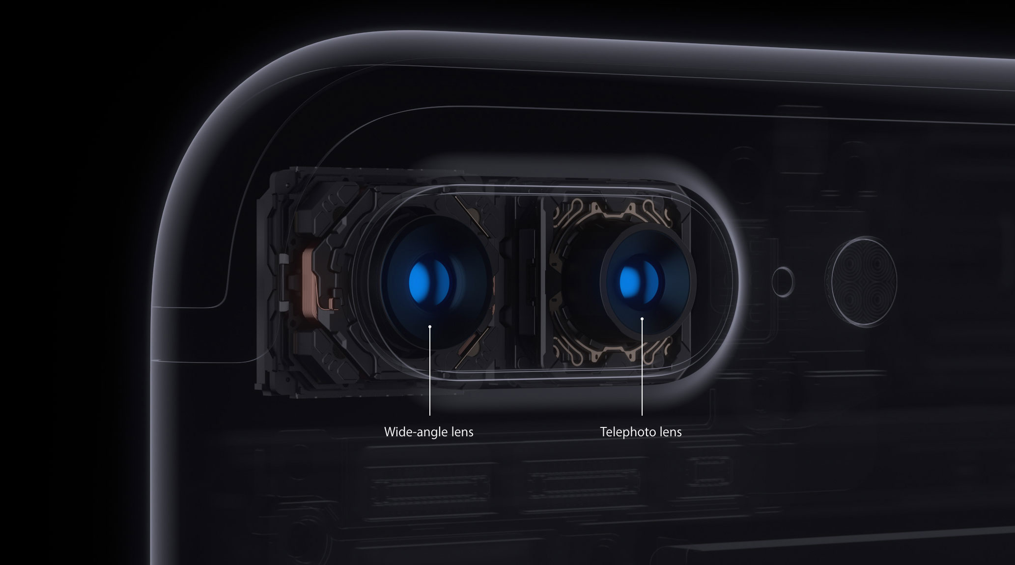 The iPhone 7 Plus has a wide-angle 28mm-equivalent lens and 56mm-equivalent telephoto lens that work together.