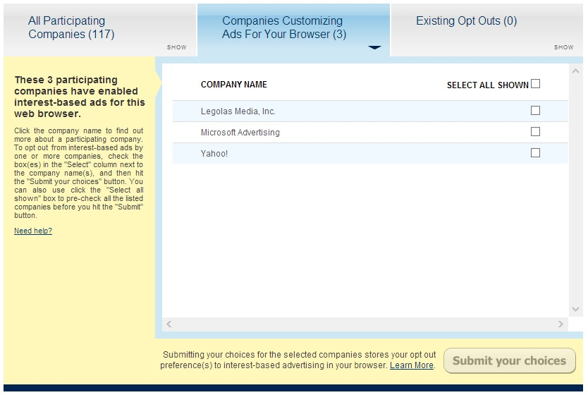 Digital Advertising Alliance tracking opt-out page