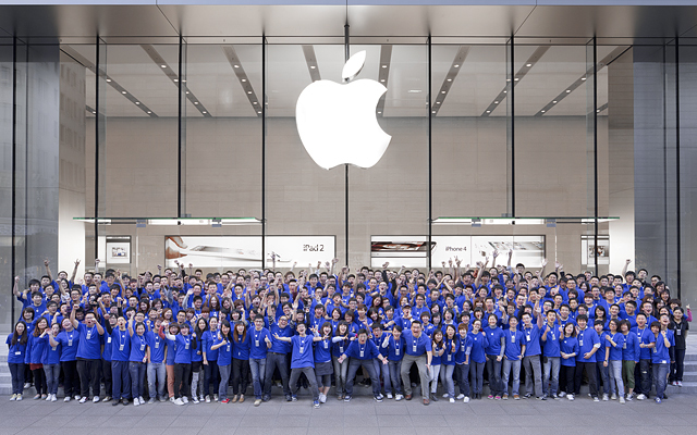 A crowd of Apple employees outside the company's recently-opened second store in Shanghai.