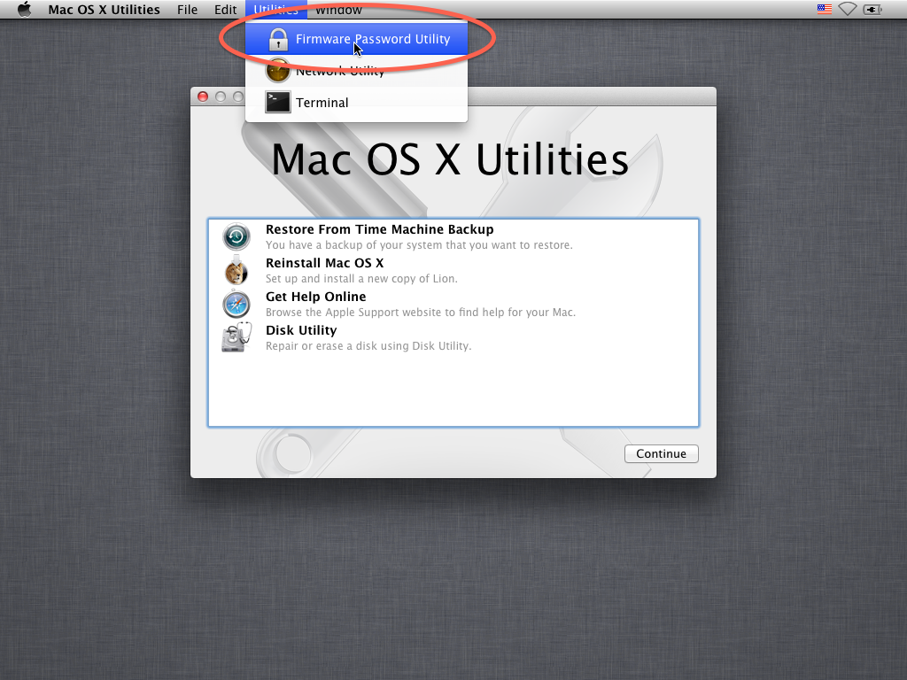Firmware password utility in OS X