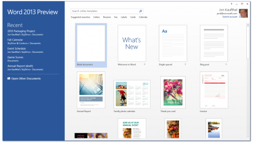 Word 2013 Preview start screen