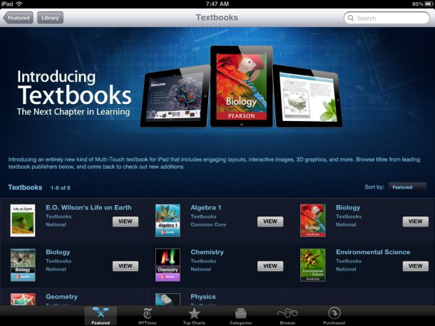 Apple's new textbooks are in the iBookstore.