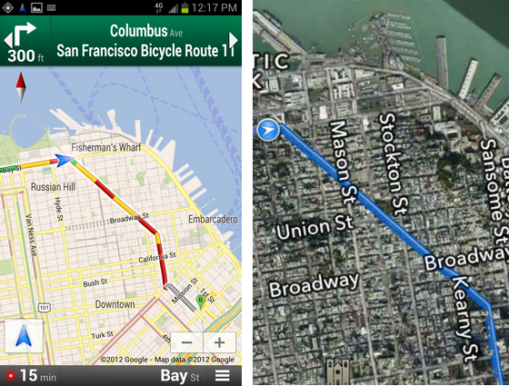 Google and Apple Maps Apps
