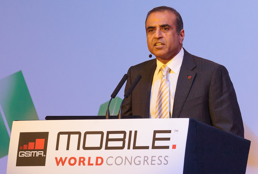 Airtel CEO Sunil Bharti Mittal speaking at Mobile World Congress in Barcelona, Spain.