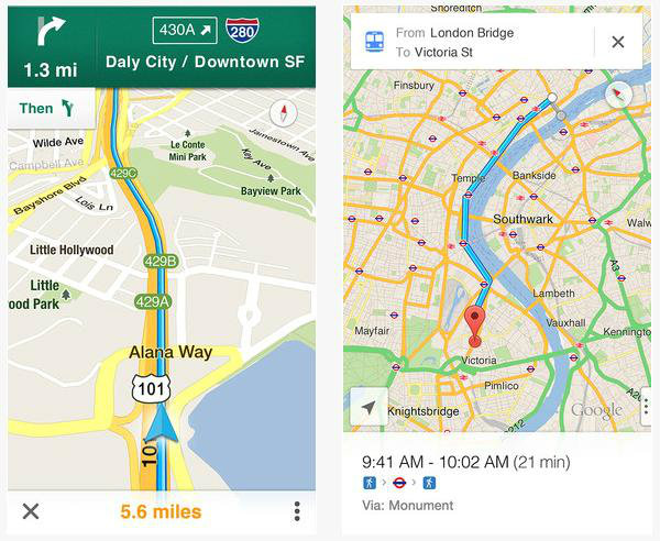Google Maps views of SF highway, London route