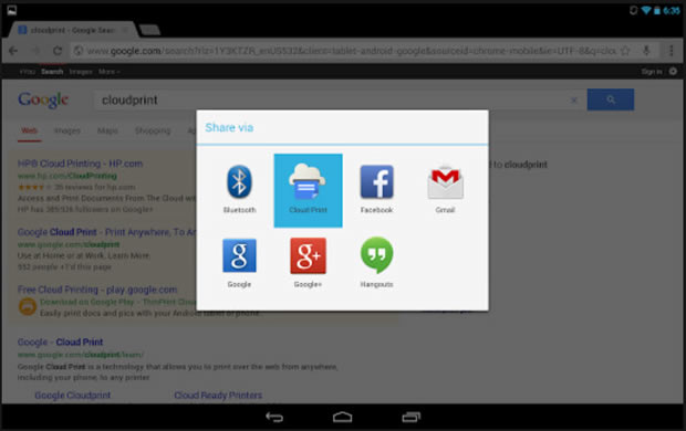 Google's new Cloud Print app for Android.