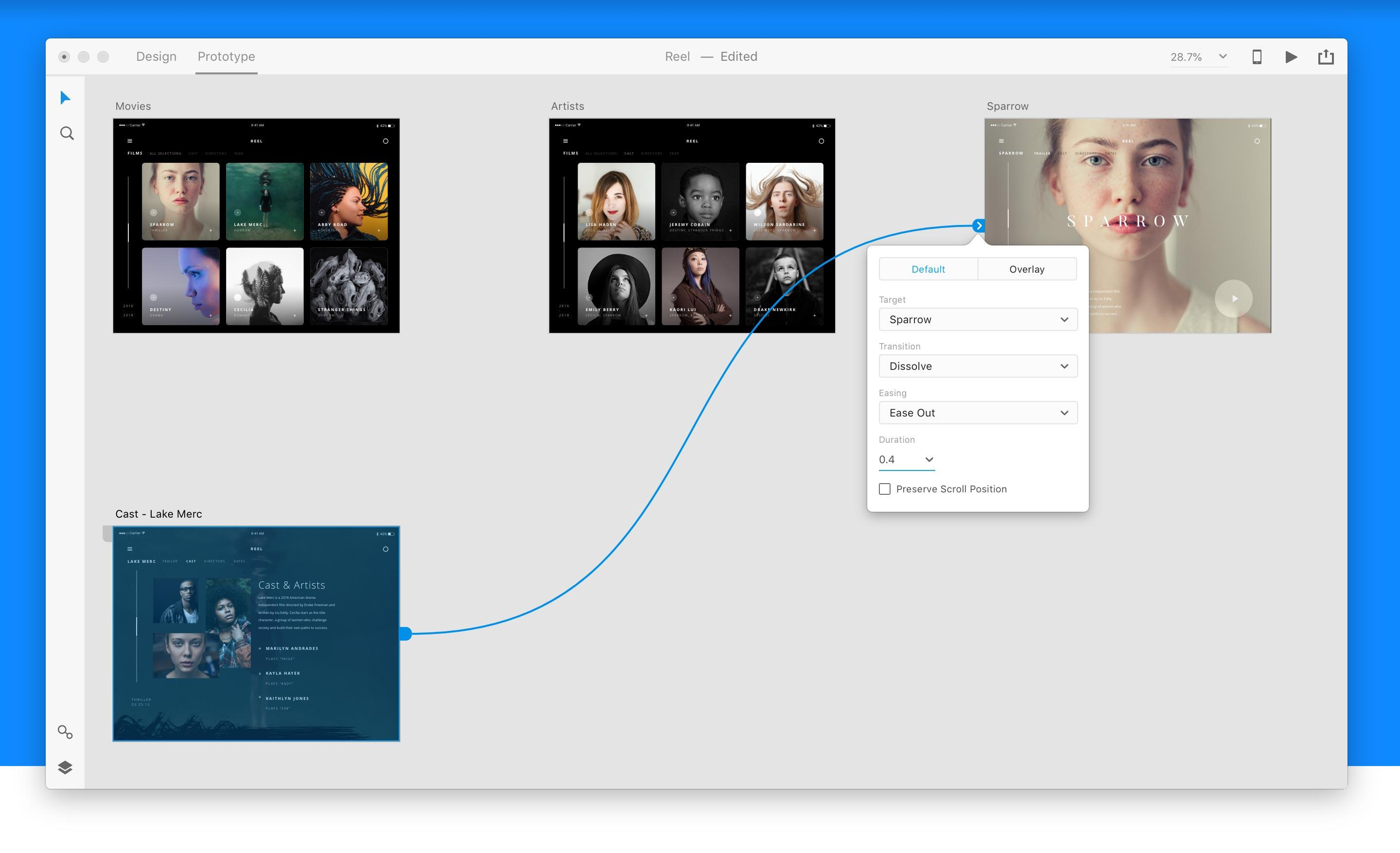 Adobe XD lets designers not just determine the visual look of a website or mobile app but also the flow people will experience as they tap buttons or links.