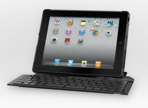 The Logitech Fold-Up Keyboard for iPad 2 offers a full-size set of keys.