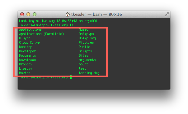 Standard command output in the OS X Terminal